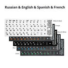 Keyboard Stickers Cover Letter Russian English Spanish Non Transparent Universal