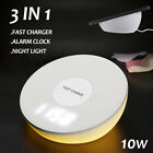 Qi Wireless Charging Pad Charger Alarm Clock Dimmable Light For iPhone Samsung