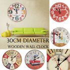 Home Deco Wooden Wall Clock Vintage Rustic Shabby Style 30CM Art Large Watch New