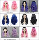 """Top Quality! 24"""" long curl wavy heat resistant hair wig ombre pink blue purple"""