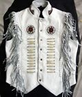 Vipzi men's NEW Cow Leather Western Vest with Fringes beads and bones XS-5XL