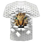 Funny Cat Kitty 3D Print Women Mens Casual T Shirt Short Sleeve Graphic Tee Tops