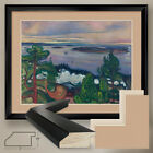 "40W""x32H"" TRAIN SMOKE by EDVARD MUNCH - DOUBLE MATTE, GLASS and FRAME"