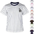 KH2008 Los Angeles LA Dodgers Striped Baseball Jersey T-Shirts Tee Uniform 0105 on Ebay