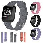 For Fitbit Versa Woven Fabric Canvas Wrist Strap Watch Band w/ Stainless Buckle image