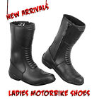 Ladies Black Motorbike Leather Shoes Waterproof Motorcycle Racing Boot Armoured