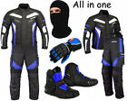 Waterproof Motorcycle Motorbike Moped Suit Jacket Trouser Gloves Boots - Blue