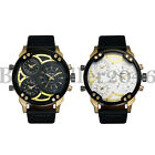 Mens Military Watches Multi Time Zone Big Face Quartz Analog Sports Wristwatch image