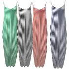 Ladies Stripe Drape Cami Sleeveless Strappy Italian Lagenlook Long Maxi Dress