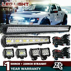 "54Inch Curved LED Light Bar+22 inch+4"" CREE PODS OFFROAD SUV 4WD UTV VS 52/42/20"