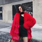 2019 New Fashion Occident Womens Winter 100% Fox Fur Luxury Warm Overcoat Parka