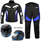 Motorbike Motorcycle Waterproof Jacket Trouser Suit Full Face Helmet Crush Visor