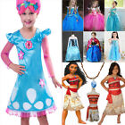 Kids Girls Princess Dress Anna Elsa Moana Trolls Costume Cosplay Fancy Dress Lot image