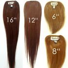 100 Human Hair Straight Clip in Piece Filler Seamless Add-On Bangs Topper 6-16""