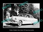 OLD LARGE HISTORIC PHOTO OF 1953 PONTIAC CHIEFTAIN SEDAN LAUNCH PRESS PHOTO