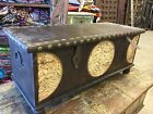 Vintage Tobacco Brown Trunk Coffee Table Circle Spice Route Journey Carved Chest