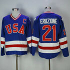 Mike Eruzione 21 Miracle on Ice USA Ice Hockey Jersey Stitched Blue