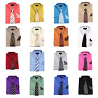 Men's Vibrant Color Dress Shirt with Matching Tie and Handkerchief Classic Cuffs
