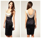 RARE New KAREN MILLEN Satin BNWT £190 Lace Embroidery Evening Pencil Party Dress