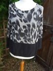 Monari black & grey animal print jumper size 12