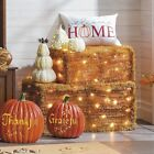 Outdoor Lighted Hay Bale Fake Fall Autumn Harvest Halloween Faux Haystack Decor
