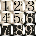 "18"" Number Pattern Cotton Linen Cushion Cover Pillow case Home Decor"