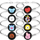 BT21 Bangtan Boys Silver Cuff Bracelet Bangle Wristband Women Fashion Jewelry