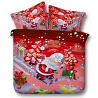 Santa Claus Skiing Presents King Queen & Twin Size Duvet Cover Bedding Set Kids
