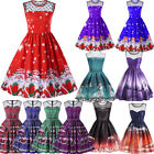 Women Christmas Dress Santa Claus Printed Vintage Evening Party Prom Swing Dres