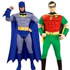 Adult BATMAN or ROBIN DELUXE MUSCLE CHEST Superhero Mens Fancy Dress Halloween