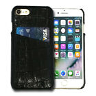 iPhone 8 & 7 Case, Genuine Leather Back Crocodile Shell Wallet Cover, Card Slot