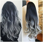 Long Straight Wavy Ombre Clip in Half Head Wig Black Grey No Front Parting USA