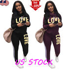 Women 2Pcs striped Tracksuit Hooded Sweatshirt Sweater Pullover Pants Sets Sport