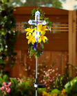 Garden Statues Solar Stake Memorial Religious Cross Flower Outdoor Yard Decor