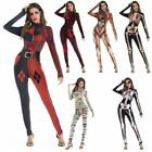 Women Adult Halloween Cosplay Skeleton Zomie Costume Fancy Dress Outfit Jumpsuit