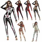 Sexy Women Halloween Cosplay Skeleton Zomie Costume Jumpsuit Fancy Dress Outfits