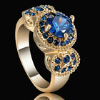 Blue Round Sapphire Claw Band Women's 10K Yellow Gold Filled Wedding Ring Size 7