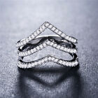 Unique Women 925 Silver Rings Jewelry White Sapphire Wedding Rings Size 7