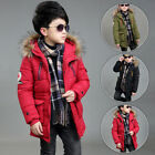 New Boys Kids Winter Padded Long Parka Jacket Teenager Fur Hooded Coat Hot Sale