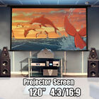 120'' Foldable Projector Projection Screen Home Theater Movie Film 16:9/4:3