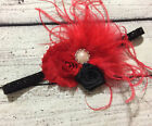 Red and Black Flower Feather Christmas Holiday Baby /Toddler /Girl Headband