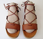 Yokono Gladiator Strappy Sandals Sz 6 Brown Leather Lace Tie Up Made in Spain