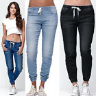 Womens Elastic Waist Pencil Stretch Denim Skinny Drawstring Jeans Pants Trousers