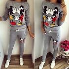 Damen Mickey Mouse Winter Trainingsanzug Jogginghose Pullover Top Sport Anzug DE