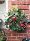 Luxury Christmas Artificial Wall Basket Red Pine Greenery Pine Cones & Bark Wow!