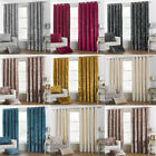 Paoletti Verona Crushed Velvet Lined Eyelet Curtains
