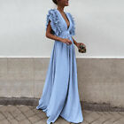Women Ruffles Sleeve Evening Long Maxi Dresses Cocktail Formal Wedding Dress <br/> ❤US STOCK ❤ 2018 NEW STYLE ❤ Best Quality ❤Easy Return❤