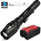90000LM T6 LED Rechargeable Flashlight Zoom Torch 18650 Battery Dual Charger SET