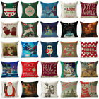 Xmas Christmas Cotton Linen Throw Pillow Case Sofa Cushion Cover Home Decor Gift image