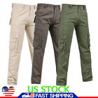 Men Overalls Straight Pants Pockets Slim Skinny Jeans Mid Waist Workwear Trouser